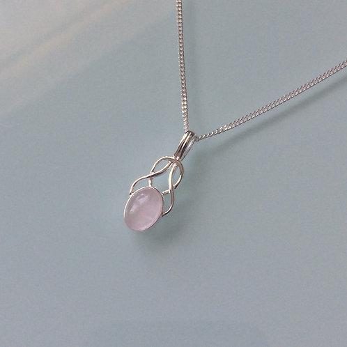 925 Sterling Silver Small Fancy Rose Quartz Celtic Necklace