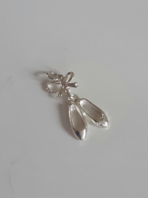 925 Sterling Silver Ballet Shoes & Bow Charm Pendant