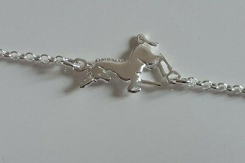 "925 Sterling Silver 7.5"" unicorn bracelet"
