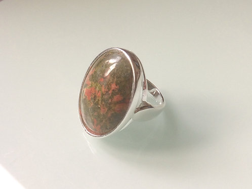 925 Sterling Silver Large Oval Ring Set With a Unakite Cabochon Sizes L - R