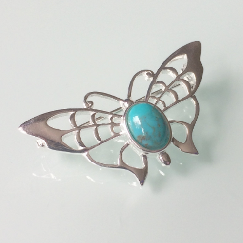 925 Sterling Silver Butterfly and Turquoise Butterfly Brooch