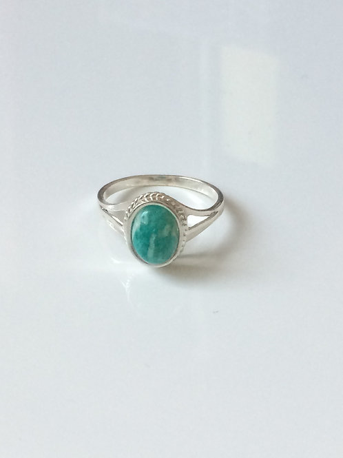 925 Sterling Silver and Russian Amazonite Rope Edge Ring Sizes J - R