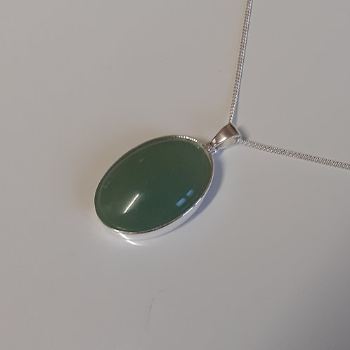 925 Sterling Silver Plain 25 x 18mm Aventurine Necklace