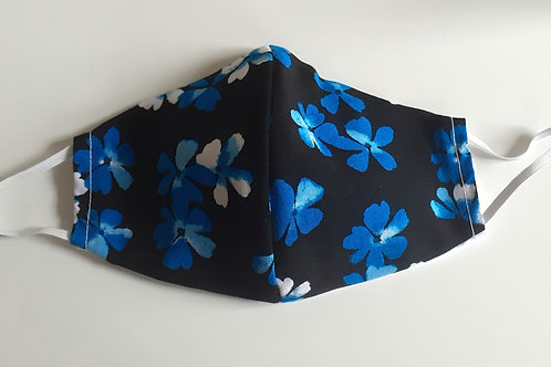 handmade facemask washable re-useable cotton 2 layer blue floral face covering