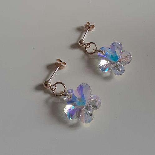 9ct Gold Swarovski Crystal AB Flower Drop Stud Earrings
