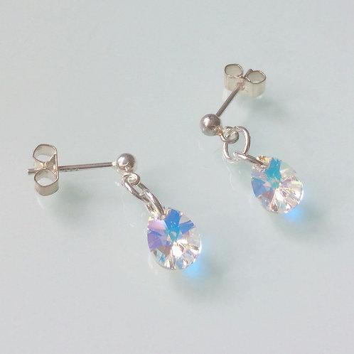 925 Sterling Silver & Swarovski Crystal Ab Mini Pear Drop Stud Earrings