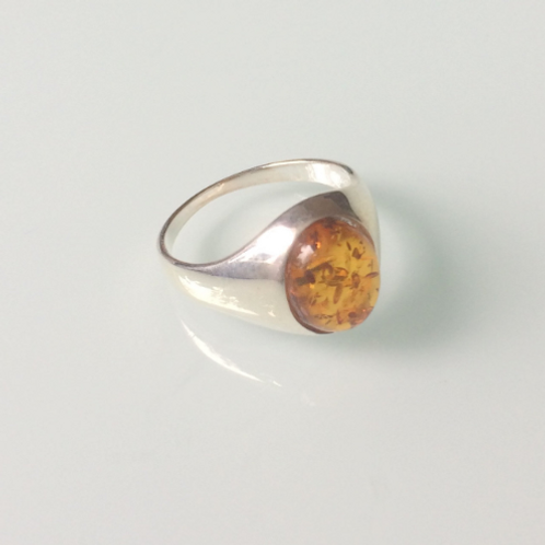 925 Sterling Silver and Amber Unisex Signet Ring Sizes K - R
