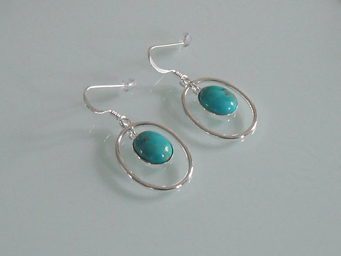 925 sterling silver and Turquoise oval drop earrings