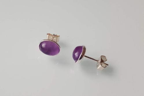 925 Sterling Silver & Amethyst Plain Edge Stud Earrings 9 x 7mm