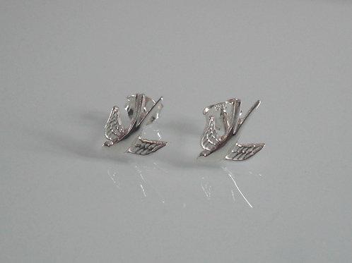 925 Sterling Silver Bird in Flight Stud Earrings