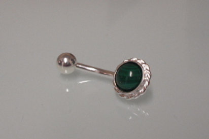 925 Sterling Silver & Surgical Steel Rope Edge Malachite Belly Bar