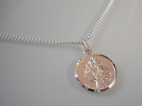 925 Sterling Silver Double Sided 18mm St.Christopher Necklace