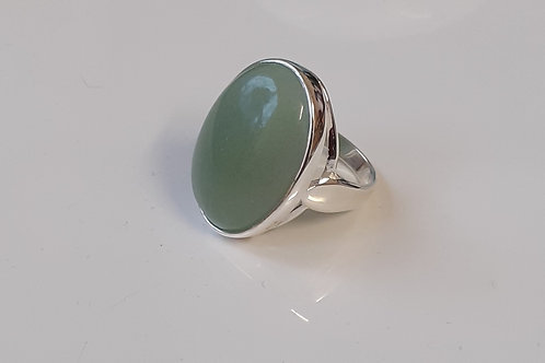 Sterling Silver Large Oval Ring Set With an Aventurine Cabochon Sizes L - R