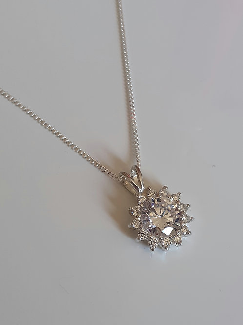 925 Sterling Silver & Clear cubic zirconia Necklace