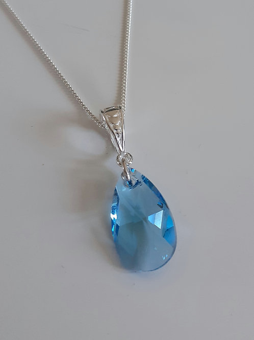 925 Sterling Silver and Swarovski Aquamarine 16mm Pear Drop Necklace