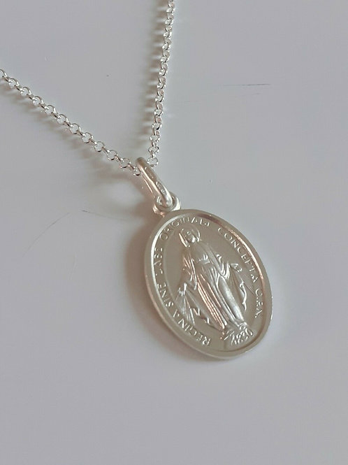 925 Sterling Silver Miraculous Medal Necklace