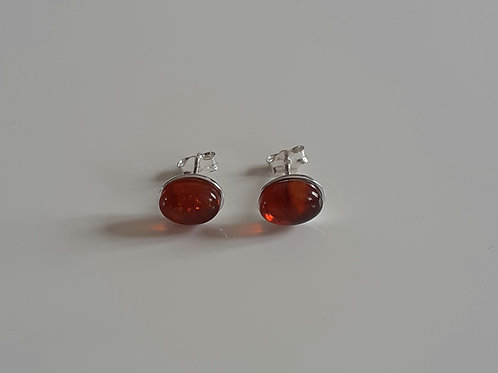 925 Sterling Silver & Amber Plain Edge Stud Earrings 9 x
