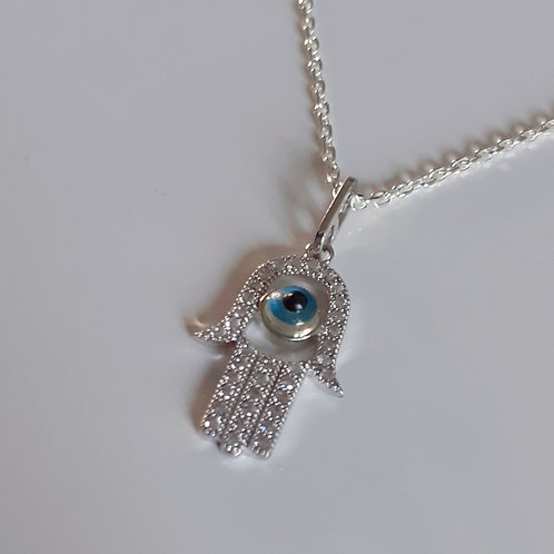 925 Sterling Silver micropaved set cubic zirconia Hamsa Necklace