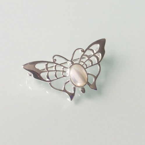 925 Sterling Silver Butterfly and Mother of Pearl Butterfly Brooch