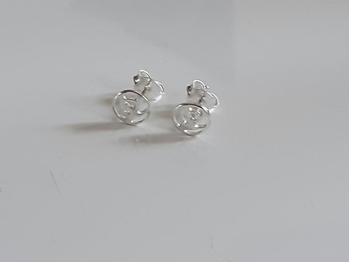 925 Sterling Silver Mackintosh Style Rose Stud Earrings
