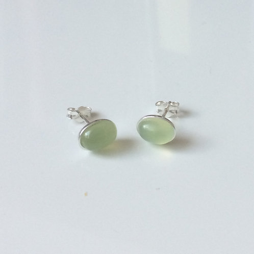 925 Sterling Silver & New Jade Plain Edge Stud Earrings 9 x