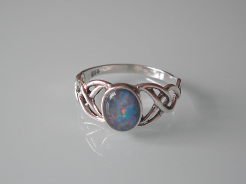 925 Sterling Silver Ladies Celtic Ring set with an Opal Triplet sizes J - R