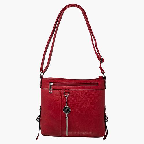 Red faux leather metal chain tassle drop shoulder bag