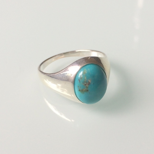 925 Sterling Silver and Turquoise Unisex Signet Ring Sizes K - R