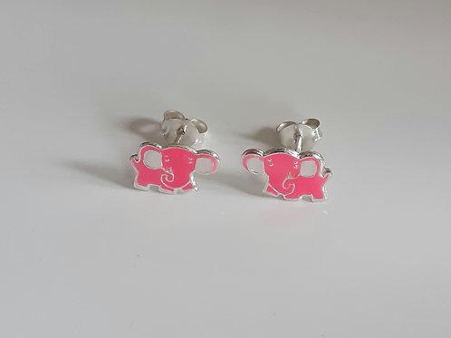 925 Sterling Silver Pink Enamelled Elephant Stud Earrings