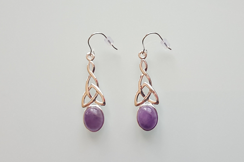 925 Sterling Silver & Amethyst long celtic drop Earrings