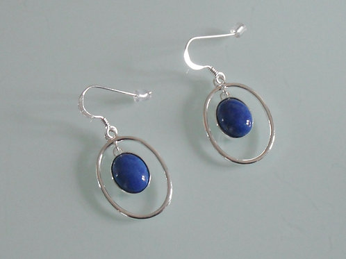925 sterling silver and Lapis Lazuli oval drop earrings