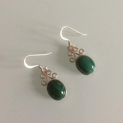 925 Sterling Silver & Malachite Small Scroll Drop Earrings
