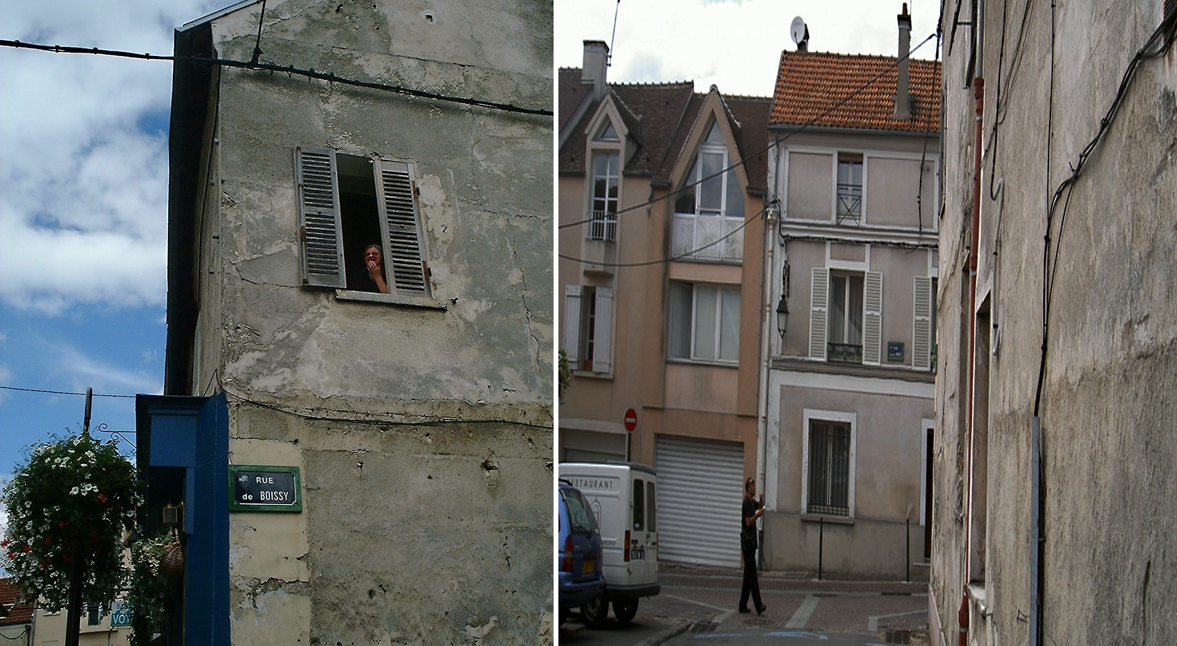 France - Village french woman in window split screen