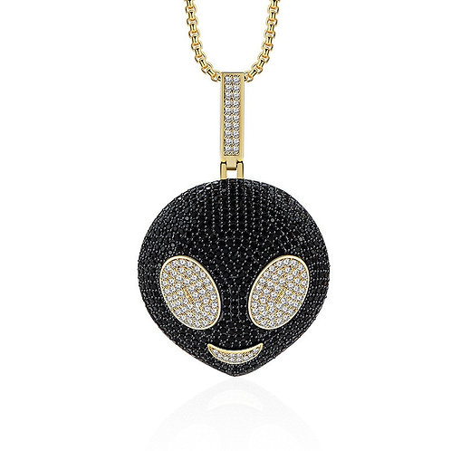 Ice Out  Aliens Pendant Necklace with Gold Chain