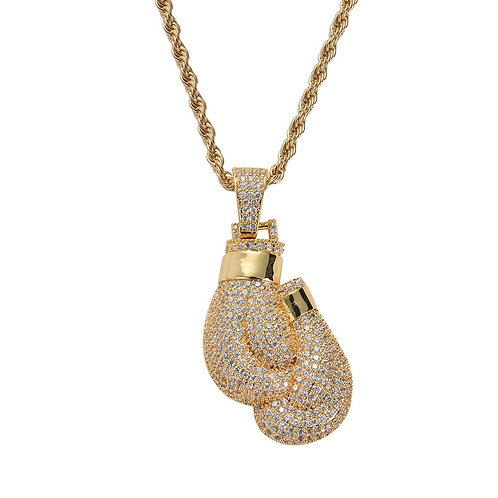 Iced Out Boxing Necklace & Pendant