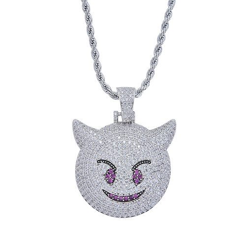 Iced Out Demon Necklace & Pendant With 4mm Tennis Chain