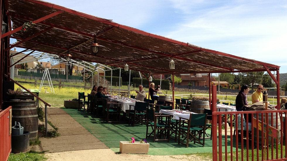 Barbacoa - comida o cena - en la terraza de El Vagón