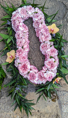 Ti Leaf Maile and Extra Large Carnation Lei