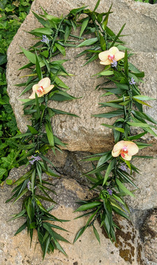 Double Ti Leaf Maile Lei with flowers