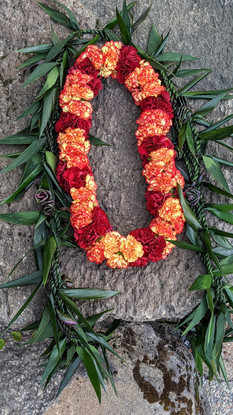 Ti Leaf Maile and Large Carnation Lei Set