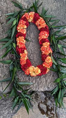 Ti Leaf Maile and Large Carnation Lei Set