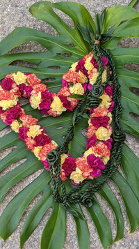 Large Carnation Lei with Ti Leaf strand Lei with Rosettes