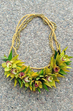 Fresh Half Orchid Lei with shell necklace