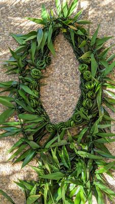Ti Leaf Maile Lei with Rosette Lei