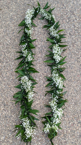 Ti Leaf Maile Lei with Baby's Breath