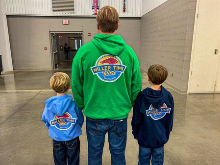 Check out my brothers Bennett and Brandtly, and my Dad sporting their new Miller Time Flies sweatshirts.