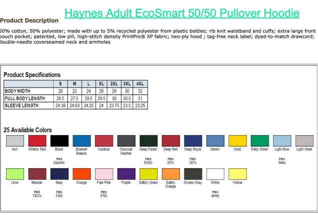 Hanes Adult EcoSmart 50/50 Pullover Hoodie