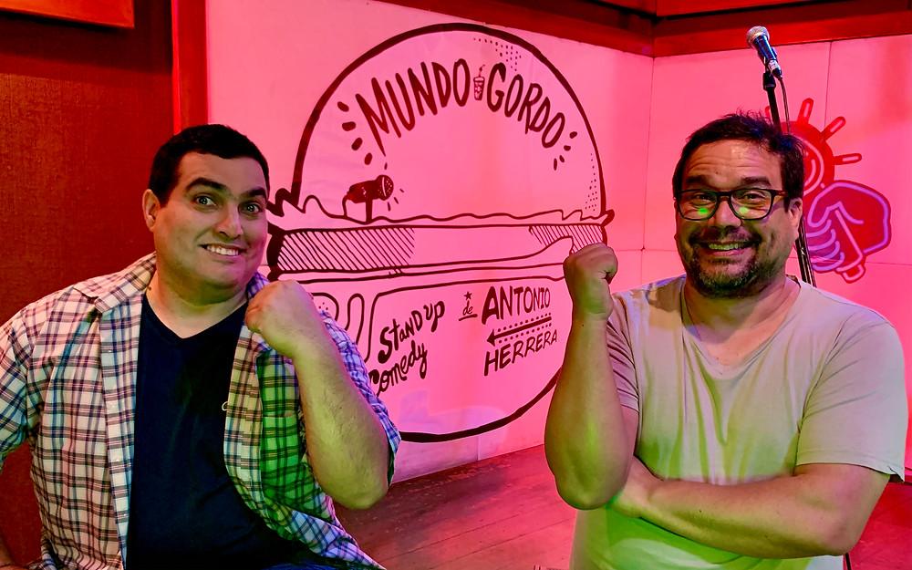 El talentoso Miki Vargas y el director Sandro Ventura en un alto de las grabaciones de Mundo Gordo.