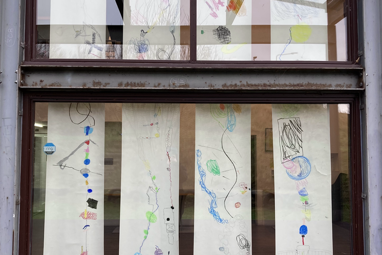 Long collaborative drawings inspired by temporary artworks