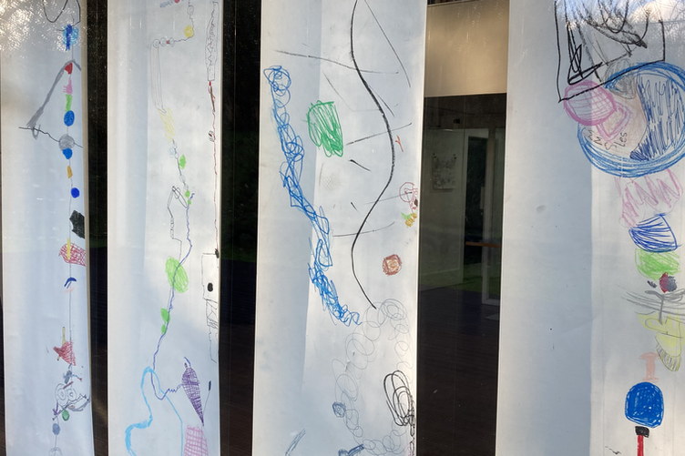 Detail of long collaborative drawings inspired by temporary artworks